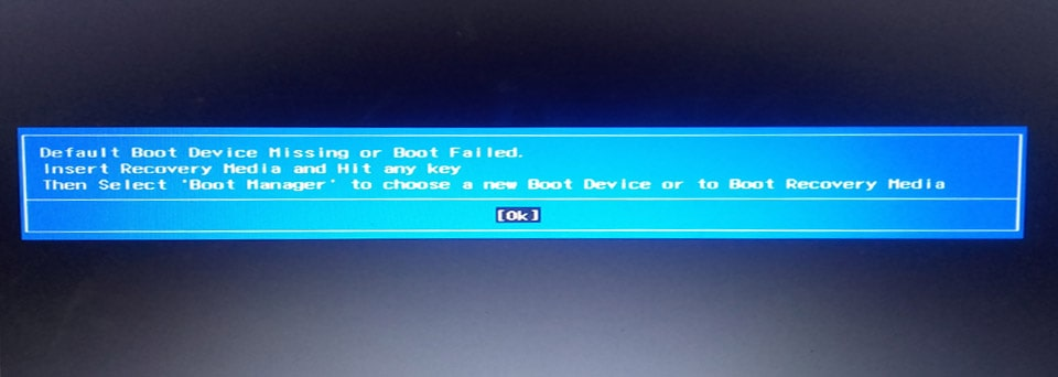 حل مشكلة رسالة Default Boot Device Missing or Boot Failed  :