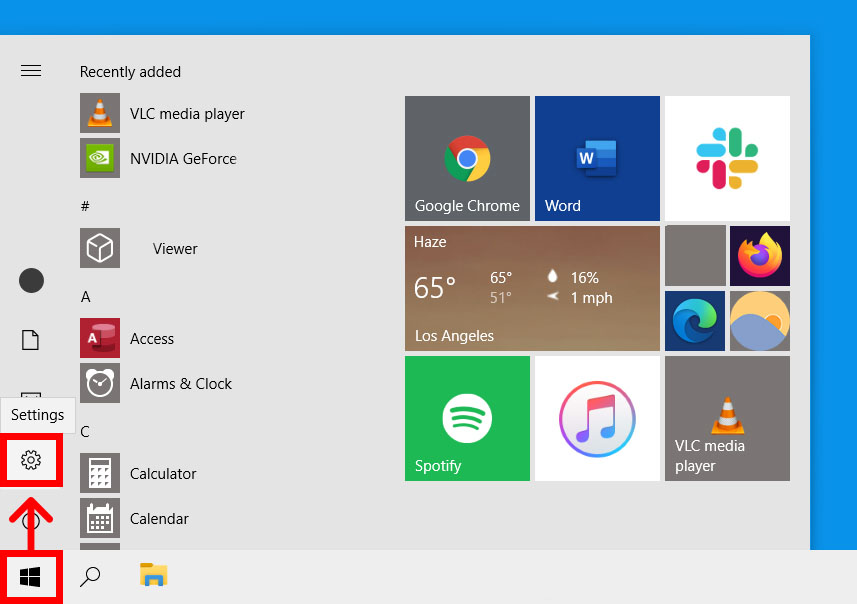 Windows 10 start settings